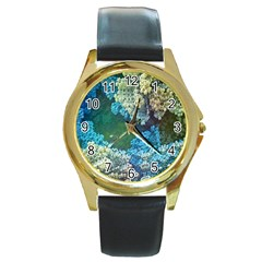 Fractal Formula Abstract Backdrop Round Gold Metal Watch