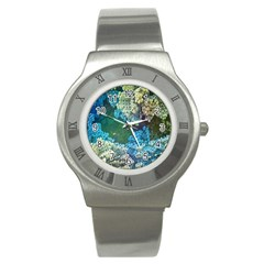 Fractal Formula Abstract Backdrop Stainless Steel Watch