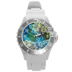 Fractal Formula Abstract Backdrop Round Plastic Sport Watch (L)