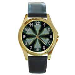 Lines Abstract Background Round Gold Metal Watch