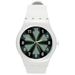 Lines Abstract Background Round Plastic Sport Watch (M)