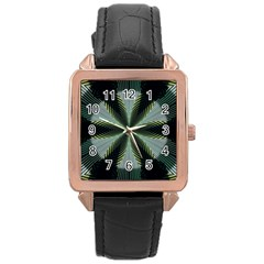 Lines Abstract Background Rose Gold Leather Watch