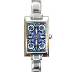Fractal Cathedral Pattern Mosaic Rectangle Italian Charm Watch