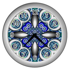 Fractal Cathedral Pattern Mosaic Wall Clocks (silver)