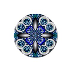 Fractal Cathedral Pattern Mosaic Rubber Round Coaster (4 pack)