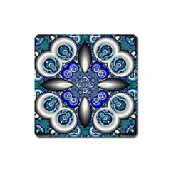 Fractal Cathedral Pattern Mosaic Square Magnet