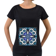 Fractal Cathedral Pattern Mosaic Women s Loose-Fit T-Shirt (Black)