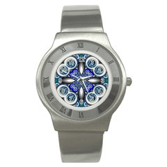 Fractal Cathedral Pattern Mosaic Stainless Steel Watch