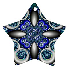 Fractal Cathedral Pattern Mosaic Star Ornament (two Sides)