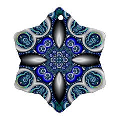 Fractal Cathedral Pattern Mosaic Snowflake Ornament (two Sides)