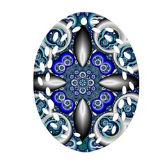 Fractal Cathedral Pattern Mosaic Oval Filigree Ornament (two Sides)