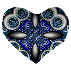 Fractal Cathedral Pattern Mosaic Large 19  Premium Heart Shape Cushions