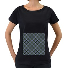 Space Wallpaper Pattern Spaceship Women s Loose-Fit T-Shirt (Black)