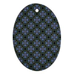Space Wallpaper Pattern Spaceship Oval Ornament (two Sides)