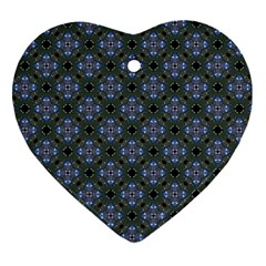 Space Wallpaper Pattern Spaceship Heart Ornament (Two Sides)