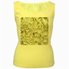 Pattern Motif Decor Women s Yellow Tank Top