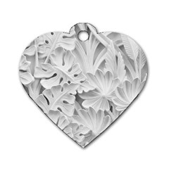 Pattern Motif Decor Dog Tag Heart (two Sides)