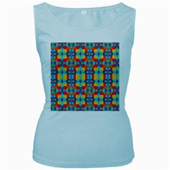 Pop Art Abstract Design Pattern Women s Baby Blue Tank Top