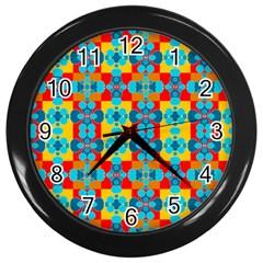 Pop Art Abstract Design Pattern Wall Clocks (Black)