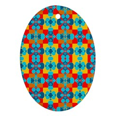 Pop Art Abstract Design Pattern Oval Ornament (Two Sides)