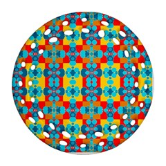 Pop Art Abstract Design Pattern Round Filigree Ornament (two Sides)