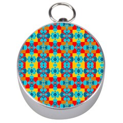 Pop Art Abstract Design Pattern Silver Compasses