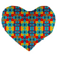 Pop Art Abstract Design Pattern Large 19  Premium Flano Heart Shape Cushions