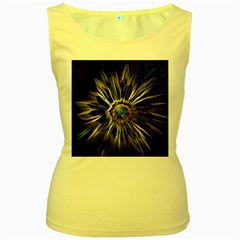 Flower Structure Photo Montage Women s Yellow Tank Top