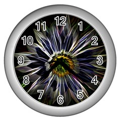 Flower Structure Photo Montage Wall Clocks (Silver)