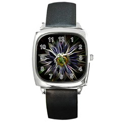 Flower Structure Photo Montage Square Metal Watch