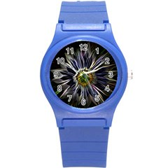 Flower Structure Photo Montage Round Plastic Sport Watch (S)