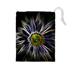 Flower Structure Photo Montage Drawstring Pouches (Large)