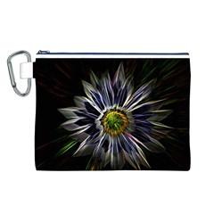 Flower Structure Photo Montage Canvas Cosmetic Bag (L)