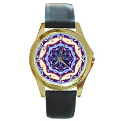 Mandala Art Design Pattern Round Gold Metal Watch