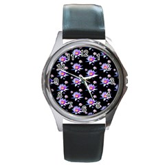 Flowers Pattern Background Lilac Round Metal Watch
