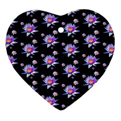 Flowers Pattern Background Lilac Ornament (Heart)