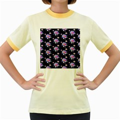 Flowers Pattern Background Lilac Women s Fitted Ringer T Shirts