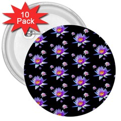 Flowers Pattern Background Lilac 3  Buttons (10 pack)