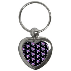 Flowers Pattern Background Lilac Key Chains (heart)