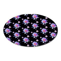 Flowers Pattern Background Lilac Oval Magnet