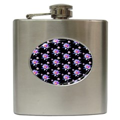 Flowers Pattern Background Lilac Hip Flask (6 oz)