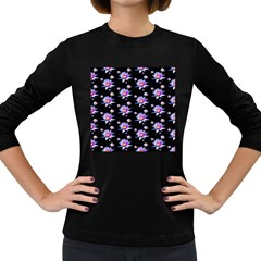 Flowers Pattern Background Lilac Women s Long Sleeve Dark T-Shirts