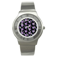 Flowers Pattern Background Lilac Stainless Steel Watch