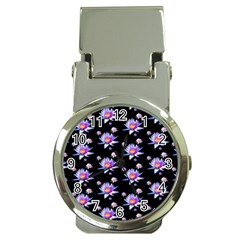 Flowers Pattern Background Lilac Money Clip Watches
