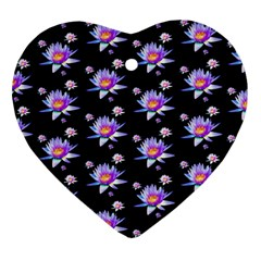 Flowers Pattern Background Lilac Heart Ornament (Two Sides)