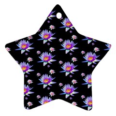 Flowers Pattern Background Lilac Star Ornament (two Sides)
