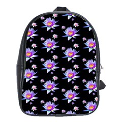 Flowers Pattern Background Lilac School Bags(large)