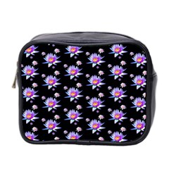 Flowers Pattern Background Lilac Mini Toiletries Bag 2 Side