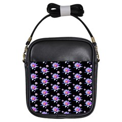 Flowers Pattern Background Lilac Girls Sling Bags