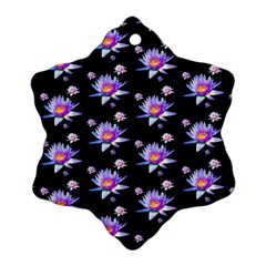 Flowers Pattern Background Lilac Snowflake Ornament (two Sides)